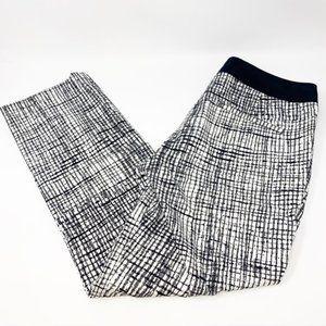Kenar Black White Patterned Crop Work Dress Pants